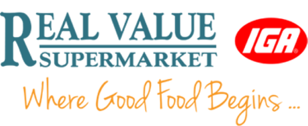 A theme logo of Real Value IGA Supermarket
